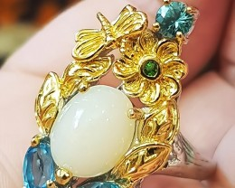 'Royal Court' Opal Topaz Zircon Emerald Gold and Sterling ring Size 10
