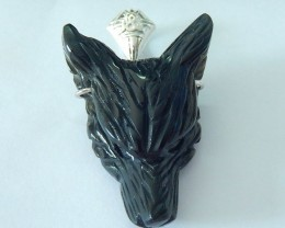 79.5ct Natural Obsidian Carved Spirital Animal Wolf Pendat With Sterling 92