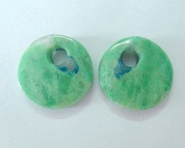 43ct Natural Chrysocolla Round Earrings With Large Hole (17112607)