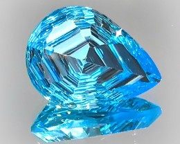 A SPINE TINGLING RICH SWISS BLUE TOPAZ GEM CUSTOM CUT
