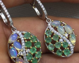 Astounding Nat 27.0tcw. Emerald Fire Opal &CZ Earrings Untreated