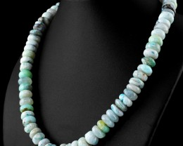Genuine 543.37 Cts Peruvian Opal Beads Necklace