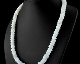 Genuine 409.00 Cts Blue Flash Moonstone Beads Necklace - Wow