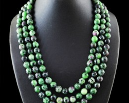 Genuine 1310 Cts 3 Line Ruby Ziosite Beads Necklace