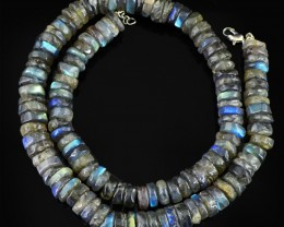 Genuine 380 Cts Blue Flash Labradorite Beads Necklace