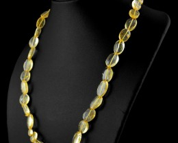 Genuine 214.50 Cts Oval Shape Yellow Citrine Beads Necklace - Wow