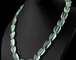 Genuine 408.70 Cts Green Fluorite Beads Necklace - Wow