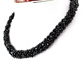 Genuine 130 Cts Black Spinel Round Cut Beads Necklace
