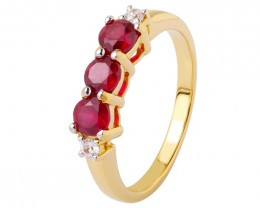 Ruby 925 Sterling silver Gold plated ring
