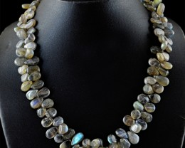 Genuine 400.00 Cts Blue Flash Labradorite Beads Necklace