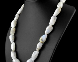 Genuine 469.00 Cts Faceted Moonstone Beads Necklace - Wow