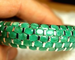 310 Tcw. Emeralds, Silver, 14K White Gold Plated Bracelet - Superb