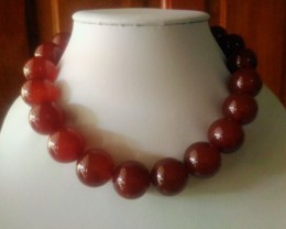 1115ct/223g 20-16 mm Large AGATE Beads Necklace