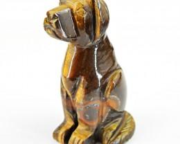 Genuine 825.45 Cts Golden Tiger Eye Hand Carved Dog