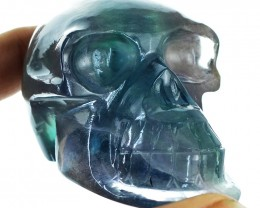 Genuine 965.00 Cts Carved Multicolor Fluorite Skull