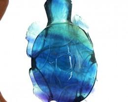 Genuine 575.50 Cts Multicolor Fluorite Carved Turtle