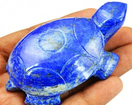 Genuine 534.50 Cts Carved Blue Lapis Lazuli Turtle