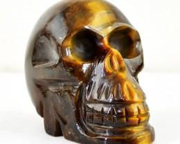 Genuine 563.50 Cts Carved Golden Tiger Eye Skull