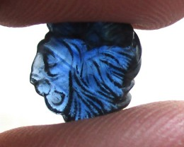 4.71cts Natural Australian Blue Sapphire Lion's Head Carving