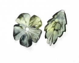 1.78cts Natural Australian Yellow Parti Sapphire Flower and Leaf Carving