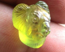 12.55cts Natural Australian Yellow Parti Sapphire Koala Head Carving
