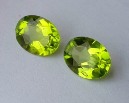 3.80 cts High Best Natural Apple Green Pakistan Peridot- 2 pcs