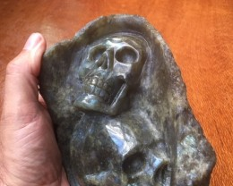 1.5kIlo dual skull caring in rock of Labradorite Gemstone Skull PPP 1667