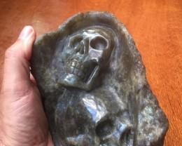 1.5kIlo dual skull caring in rock of Labradorite Gemstone Skull PPP 1667