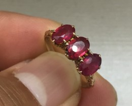 Splendid $2300 Nat 1.75cts Red Ruby Ring 14K Sol Ylw Gold