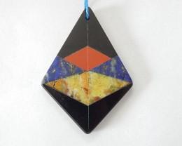 36x25x3MM 4 Kinds of Stone Combination,Natural Obsidian,Red River Jasper,La