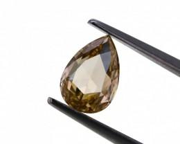 1.07 ct. Natural Fancy Orangy Brown Color Pear shape Rose cut Diamond