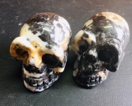 Pair black and white Jasper Gemstone  Skulls  PPP 1687