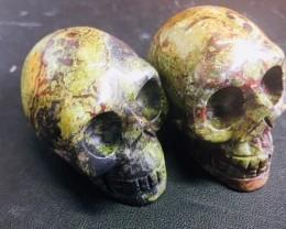 Pair olive green Jasper Gemstone  Skulls  PPP 1689