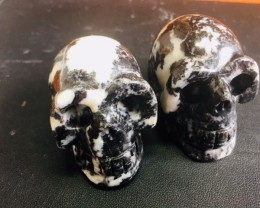 Pair white and black  Jasper Gemstone  Skulls  PPP 1692