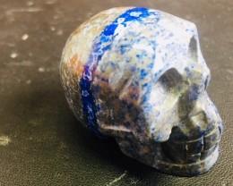 Lapis lazuli  vertical grain Gemstone  Skulls  PPP 1695