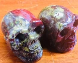 Pair  jasper  Gemstone  Skull  PPP 1708