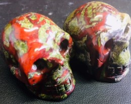 Pair red veined olive  jasper  Gemstone  Skull  PPP 1710