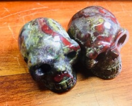 Pair green red veined  jasper  Gemstone  Skull  PPP 1711