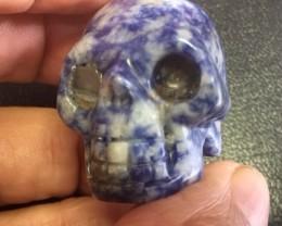 Sodolite   Gemstone  Skull  with Crystal Eye PPP 1723