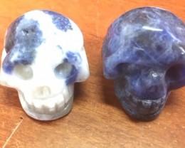 Pair blue and white jasper  Gemstone  Skull  PPP 1724