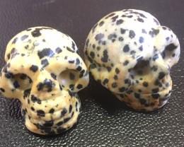 Pair Dalmation jasper  Gemstone  Skull  PPP 1726