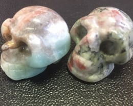 Pair mottly  ugly jasper  Gemstone  Skull  PPP 1727