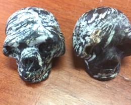 Pair black white veined  jasper  Gemstone  Skull  PPP 1729