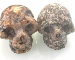 Pair  ugly  jasper  Gemstone  Skull  PPP 1730