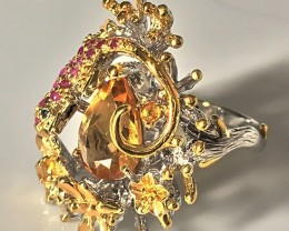 An Enchanting Woodland Citrine Ruby Sapphire Gold Sterling Silver