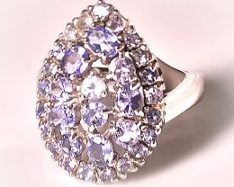 Sparkling Tanzanite 925 Sterling Silver Ring Size 8.5 No Reserve