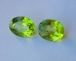 3.85 Cts.Magnificient Top cut Sparkling Intense Green 7X9 mm Peridot 2 pcs