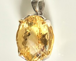 32.00ct Fabulous Citrine Sterling Silver and 14kt Gold Pendant