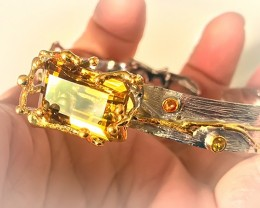 Extra Large Citrine Sapphire 14kt Gold over .925 Sterling Silver Bangle No