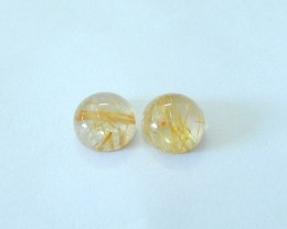 5.5ct Natural Gold Rutilated Quartz Round Cabochon Pair For Jewelry Design(